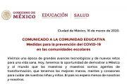 MEDIDAS PARA LA PREVENCIÓN DEL COVID-19 EN LAS COMUNIDADES ESCOLARES